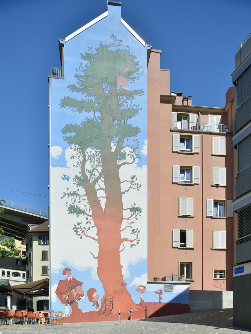 Fresque de Titeuf à Lausanne - Vue verticale (grande)