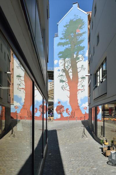 Fresque de Titeuf à Lausanne - Vue du Rôtillon