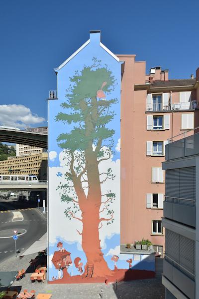 Fresque de Titeuf à Lausanne - Vue verticale